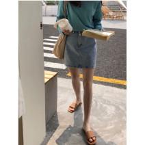 skirt Summer 2021 S,M,L wathet Short skirt Versatile Natural waist A-line skirt Type H 81% (inclusive) - 90% (inclusive) Denim polyester fiber