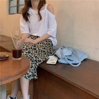 Fashion suit Summer 2021 Average size White, black, leopard skirt 18-25 years old 96% and above