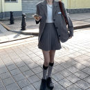 suit Autumn 2020 Suit jacket, pleated skirt S. M, l, average size Long sleeves routine Straight cylinder tailored collar Single breasted commute routine Solid color 18-24 years old Sticking cloth