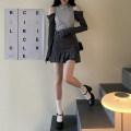 skirt Summer 2021 S,M,L dark grey Short skirt Versatile High waist Pleated skirt Solid color Type A 18-24 years old Bandage