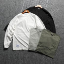 T-shirt Fashion City routine One, two, three, four Others Long sleeves Crew neck easy daily autumn routine Japanese Retro 2020 Solid color pocket washing