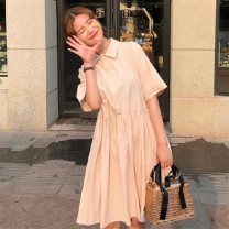 Dress Summer 2021 Apricot, light pink S,M,L,XL,2XL longuette singleton  Long sleeves commute Doll Collar Loose waist Solid color Socket Princess Dress pagoda sleeve Others 18-24 years old Type A Korean version Pocket, button 81% (inclusive) - 90% (inclusive) brocade cotton