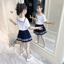 suit 108 white suit skirt, 208 white suit skirt 100cm,110cm,120cm,130cm,140cm,150cm,160cm neutral summer college Short sleeve + skirt 2 pieces Thin money There are models in the real shooting Socket nothing Solid color cotton children Learning reward Class B Cotton 95% other 5% Chinese Mainland