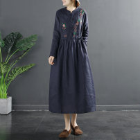 Dress Spring 2021 Green Navy beige red M L XL Mid length dress singleton  Long sleeves commute other Loose waist Decor Socket A-line skirt routine 35-39 years old Type A Flying Swallow literature Pocket button embroidery TQ714 More than 95% hemp Flax 96% others 4% Pure e-commerce (online only)