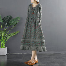 Dress Spring 2021 Grey blue dark pink dark purple grey coffee Average size Mid length dress singleton  Long sleeves commute V-neck Loose waist Decor Socket A-line skirt routine Others 35-39 years old Type A Flying Swallow literature Pocket lace up print TQ725 71% (inclusive) - 80% (inclusive) cotton