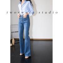 Jeans Autumn 2020 navy blue trousers High waist Flared trousers routine 18-24 years old washing Cotton elastic denim light colour twosweet 96% and above