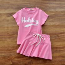 suit Other / other White, plum powder, dark blue female summer motion Short sleeve + skirt 2 pieces routine No model Socket nothing other cotton children Giving presents at school Class B Cotton 95% polyurethane elastic fiber (spandex) 5% Chinese Mainland