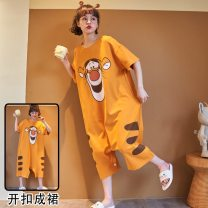 Nightdress Other / other Size m for women (70-98 kg), size L for women (98-115 kg), size XL for women (115-135 kg), and size 2XL for women (135-150 kg) Cartoon Short sleeve Leisure home longuette summer Cartoon animation youth Crew neck cotton printing More than 95% pure cotton