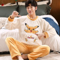 Pajamas / housewear set male Other / other Polyester (polyester) Long sleeves Cartoon Leisure home winter thickening Crew neck Cartoon animation trousers Socket youth 2 pieces rubber string More than 95% Flannel printing