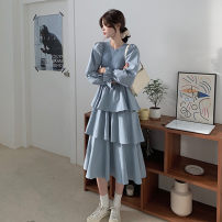 Dress Autumn 2020 Apricot, blue S,M,L 6722#