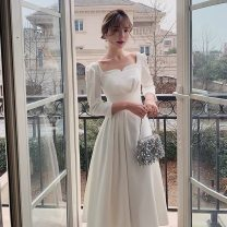 Dress / evening wear Adulthood, routine, dating, wedding, performance, party, company annual meeting XXL,XXXL,XS,S,M,L,XL Short white grace Medium length middle-waisted Summer 2021 A-line skirt square neck zipper See description 18-25 years old three quarter sleeve Solid color other other