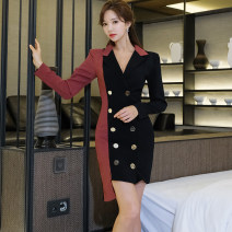 Dress Spring 2020 Picture color S,M,L,XL Miniskirt singleton  Long sleeves commute tailored collar middle-waisted Solid color double-breasted One pace skirt routine Others Other / other Korean version 81% (inclusive) - 90% (inclusive) brocade nylon