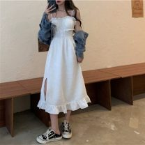 Dress Spring 2021 S. M, average size Miniskirt singleton  Sleeveless commute One word collar High waist Solid color Socket routine camisole 18-24 years old Type A Retro 51% (inclusive) - 70% (inclusive) cotton