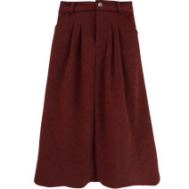 skirt Autumn 2020 Average size Black, corduroy red Mid length dress commute High waist A-line skirt Solid color Type A 991eh 81% (inclusive) - 90% (inclusive) Other / other other Button