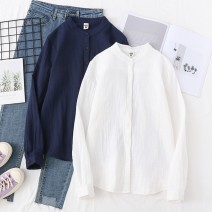 shirt Milky white, navy blue S,M,L,XL Autumn of 2019 cotton 96% and above Long sleeves Versatile Regular Crew neck Single row multi button routine Solid color 18-24 years old Self cultivation xiuqi