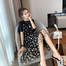 Women's large Summer 2020 Black, white Large XL, large XXL, large XXL, large L, large M, collection baby presents Dress Fake two pieces commute easy thin Socket Short sleeve Broken flowers Korean version Crew neck cotton printing and dyeing routine 18-24 years old Gauze longuette Ruffle Skirt