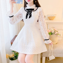 Dress Spring 2021 White, black S,M,L Short skirt singleton  Sleeveless Sweet Crew neck High waist Solid color zipper Princess Dress routine 18-24 years old Type A Bowknot, Gouhua, hollow out, Sequin, zipper, lace 31% (inclusive) - 50% (inclusive) Lace other princess