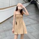 Dress Summer of 2019 Khaki, black Average size Middle-skirt singleton  Sleeveless commute A-line skirt Type A Korean version