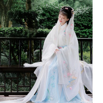 Hanfu 96% and above Summer of 2018 Light green pearl Chiffon large sleeve single piece, White Organza large sleeve single piece M spot, l spot, XL spot, m pre-sale, l pre-sale, XL pre-sale polyester fiber