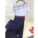Dress Summer 2020 blue S, M Mid length dress Stitching, ruffles