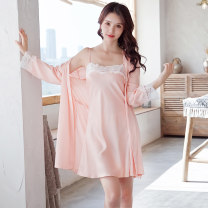Nightdress Other / other Black, red, champagne, light pink, navy M,L,XL sexy Long sleeves pajamas Middle-skirt summer youth One word collar Iced silk 81% (inclusive) - 95% (inclusive)