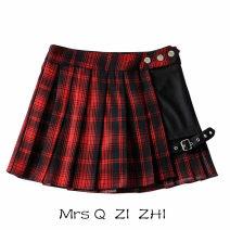 skirt Summer of 2019 XS,S,M,L Black, red, green Short skirt Versatile High waist Irregular lattice Type A 18-24 years old