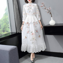 Dress Spring 2021 white S,M,L,XL longuette singleton  three quarter sleeve commute Crew neck middle-waisted Solid color zipper A-line skirt bishop sleeve Others 25-29 years old Type A LpDaieR lady Embroidery, stitching More than 95% other polyester fiber