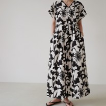 Dress Summer 2021 Picture color Average size longuette singleton  Long sleeves commute V-neck Loose waist Decor Socket other routine Others 25-29 years old Type H Korean version Ruffle, print 51% (inclusive) - 70% (inclusive) cotton