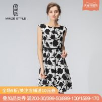 Dress Spring of 2019 Black and white print dress 90 black and white M L XL XXL Middle-skirt singleton  Sleeveless commute Crew neck middle-waisted Decor Socket A-line skirt routine Others 30-34 years old Type X Minze style / Mingshi Road lady printing TM929027 More than 95% polyester fiber