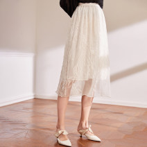 skirt Spring 2021 S,M,L milky white Mid length dress fresh High waist A-line skirt Solid color Type A BQ00795 More than 95% The magic magician of Oz silk Embroidery