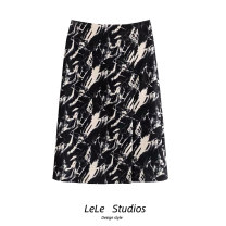 skirt Spring 2021 S,M,L black Mid length dress Versatile High waist A-line skirt other Type A 51% (inclusive) - 70% (inclusive) other other printing