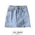 skirt Summer 2020 XS,S,M,L Gray, black, blue Short skirt Versatile High waist A-line skirt Solid color Type A 51% (inclusive) - 70% (inclusive) Button