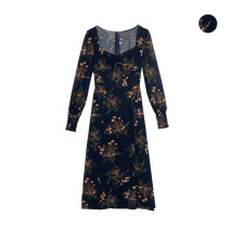 Dress Spring 2020 Decor S,M,L Mid length dress singleton  Long sleeves commute square neck Decor other A-line skirt Type A printing 51% (inclusive) - 70% (inclusive) other