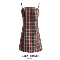 Dress Summer 2020 lattice S,M,L Short skirt singleton  Sleeveless Sweet lattice A-line skirt camisole Type A 51% (inclusive) - 70% (inclusive) other