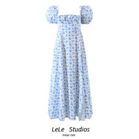 Dress Summer 2021 blue S,M,L Mid length dress singleton  Short sleeve commute square neck High waist Decor A-line skirt puff sleeve 18-24 years old Type A Bow, tie, print 51% (inclusive) - 70% (inclusive) other other