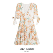 Dress Summer 2021 Decor S,M,L Short skirt singleton  Short sleeve commute V-neck High waist Decor A-line skirt 18-24 years old Type A Retro Bow, print 51% (inclusive) - 70% (inclusive) other other