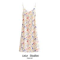 Dress Summer 2020 Decor S,M,L Mid length dress singleton  Sleeveless commute V-neck High waist Decor A-line skirt camisole Type A Bow, print 51% (inclusive) - 70% (inclusive) other