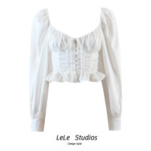 shirt White, black S,M,L Spring 2021 other 51% (inclusive) - 70% (inclusive) Long sleeves Versatile Regular square neck Single row multi button Solid color High waist type Bow, button