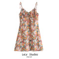 Dress Summer 2020 Decor S,M,L Short skirt singleton  Sleeveless Sweet V-neck other A-line skirt camisole Type A Bow, print 51% (inclusive) - 70% (inclusive)
