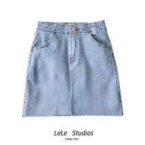skirt Summer 2020 S,M,L,XL Blue, carbon black Short skirt Versatile High waist A-line skirt Solid color Type A 51% (inclusive) - 70% (inclusive) Button, zipper