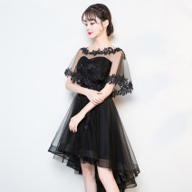 Dress / evening wear Wedding, adulthood, party, company annual meeting, performance, routine, appointment XXL, XXXL, XXL, XS, s, m, l, XL, customized Black, Burgundy, champagne, red, silver grey fashion Middle-skirt middle-waisted Spring 2021 Self cultivation One shoulder Bandage Netting Sleeveless