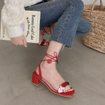 Sandals 35,36,37,38,39 Red, beige PU Other / other Barefoot Thick heel High heel (5-8cm) Spring 2021 Frenulum Sweet Solid color Adhesive shoes Youth (18-40 years old) Composite bottom daily Front and rear trip strap Hollow PU PU Cool boots
