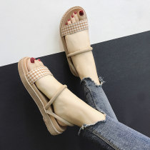 Sandals 35 36 37 38 39 BEIGE BLACK Other / other cloth Barefoot Flat bottom Low heel (1-3cm) Summer of 2018 Trochanter Korean version Color matching Adhesive shoes Youth (18-40 years old) daily Front and rear trip strap waterproof Low Gang Roman shoes