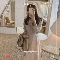 Dress Autumn 2020 Picture color S,M,L,XL Mid length dress singleton  Long sleeves commute High waist lattice A-line skirt shirt sleeve Type A Korean version Lace up