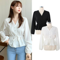 shirt White, black S,M,L,XL Autumn of 2019 other 31% (inclusive) - 50% (inclusive) Long sleeves commute Regular V-neck Socket puff sleeve Solid color 18-24 years old High waist type Other / other Korean version fold