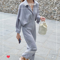 Dress Autumn 2020 S,M,L,XL longuette singleton  Long sleeves commute Polo collar High waist Solid color Single breasted A-line skirt shirt sleeve Type A Korean version other
