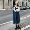 Women's large Winter of 2019, autumn of 2019 Green strap skirt, navy blue strap skirt, white high collar bottom shirt, green strap skirt + white high collar bottom shirt, navy blue strap skirt + white high collar bottom shirt Other oversize styles Two piece set commute easy moderate Socket routine