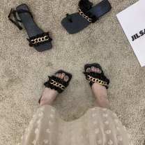 Sandals 35,36,37,38,39 blackish green , five hundred and eleven - 39 Black Flip Flop , five hundred and eleven - 36 black cross drag , five hundred and eleven - 37 black sandals , five hundred and eleven - 35 black toed Superfine fiber Other / other Barefoot Flat bottom Flat heel (1cm or less) rubber