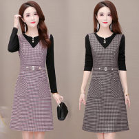 Dress Winter 2020 Red, coffee L,XL,2XL,3XL,4XL,5XL Mid length dress Fake two pieces Long sleeves commute Crew neck middle-waisted lattice Socket A-line skirt routine Others 40-49 years old Type A Korean version Stitching, stereo decoration, zipper 71% (inclusive) - 80% (inclusive) Wool cotton