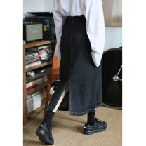 Women's large Winter, summer, spring and autumn of 2019 Smoky grey Big L, big XL, big XXL, big XXXL, big XXXXL, big s, M skirt singleton  commute easy moderate Solid color Korean version Denim, cotton, other Three dimensional cutting 18-24 years old Button Medium length other